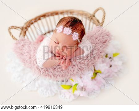 Swaddled beautiful newborn baby girl with knitted flower wreath on her head sleeping in the basket with pink fur. Cute female infant child photoshoot in studio. Adorable kid napping