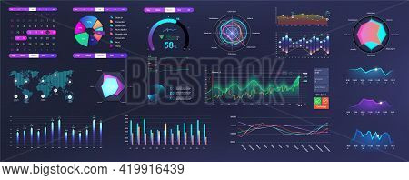 Modern Neon Ui, Ux And Kit Elements Interface With Charts, Graphics And Infographics. Network Manage