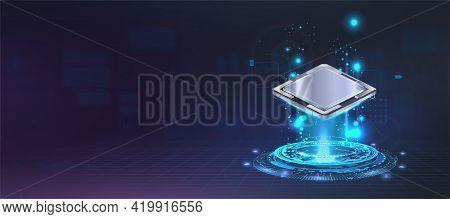 Presentation Microchip Processor With Lights And Glow Effects. Futuristic Cpu Ai, Quantum Computing,