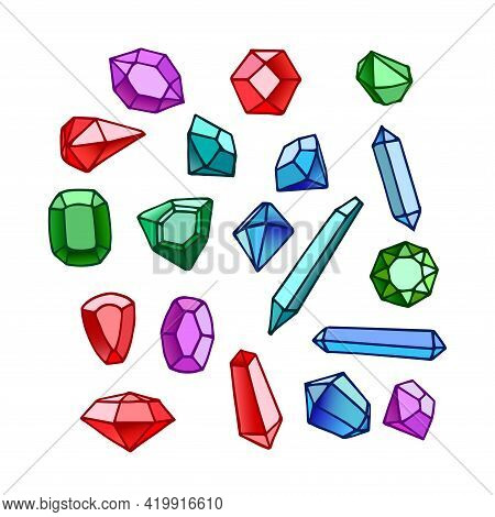 Set Of Faceted Gemstones: Emeralds, Sapphires, Diamonds And Rubies, Glass Crystals For Bijou, Color