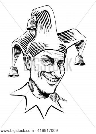 Smiling Joker Character. Ink Black And White Drawing