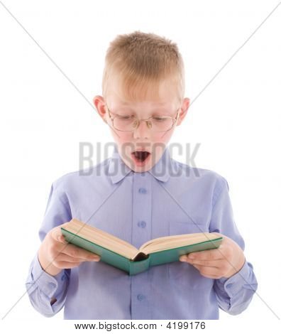 Amazed Boy Reading Very Interesting Book