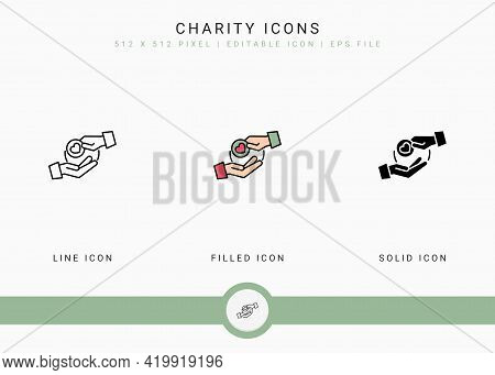 Charity Icons Set Vector Illustration With Solid Icon Line Style. Charitable Give Back Concept. Edit