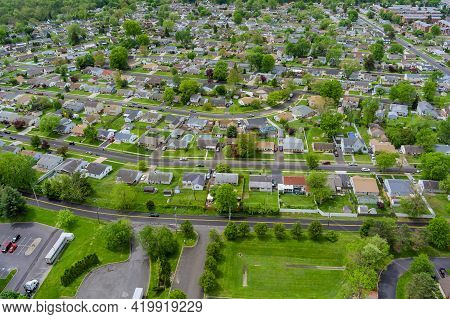 Wide Panorama, Aerial View With Tall Buildings, In The Beautiful Residential Quarters And Green Stre