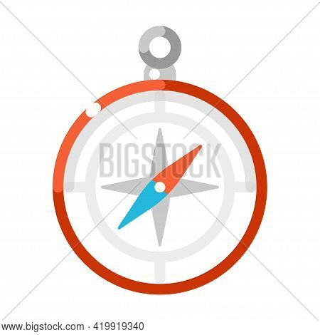 Colorful Compass Vector Flat Illustration. Equipment With Arrow For Map Orientation Isolated