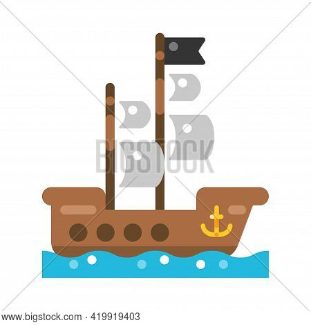 Wooden Pirate Ship Icon Vector Flat Illustration. Traditional Water Transport. Piracy Vessel