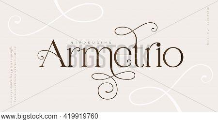 Elegant Wedding Alphabet Letters Font And Number. Typography Classic Lettering Serif Fonts Decorativ