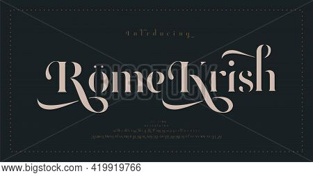 Luxury Classic Alphabet Letters Font And Number. Typography Elegant Wedding Lettering Serif Fonts De