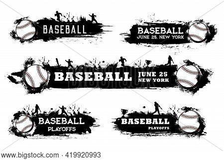 Baseball Playoff Banners And Softball Sport Tournament Vector Flags. Baseball Team And League Champi