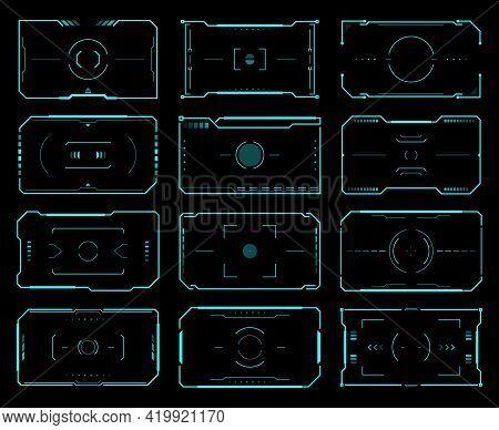 Hud Target Frames, Aim Control, Ski Fi Ui Interface. Vector Futuristic Military Optical Aiming, Spac