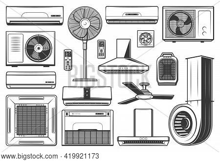 Conditioning And Ventilation Appliances Icons, Air Conditioner Equipment Items, Vector. Kitchen Exha