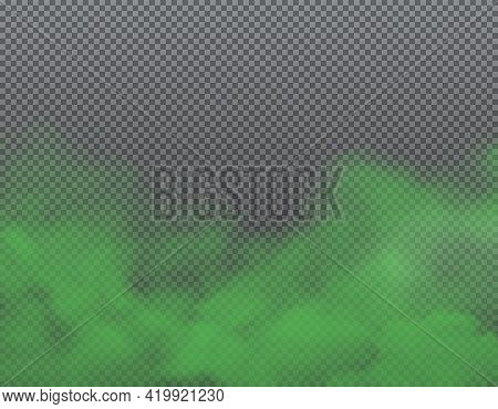 Green Bad Smell, Stench And Stink Smoke On Transparent Background. Realistic Vector Odor Clouds, Vap