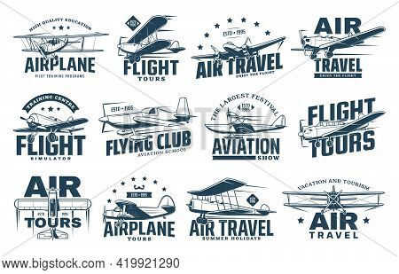 Vintage Plane Isolated Vector Icons Of Air Travel, Retro Aircraft And Passenger Airline Design. Airp