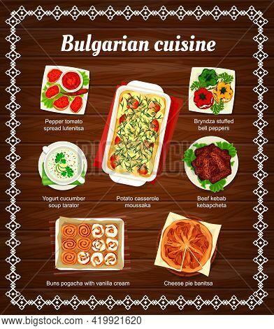 Bulgarian Cuisine Vector Menu Pepper Tomato Spread Lutenitsa, Yogurt Cucumber Soup Tarator, Potato C