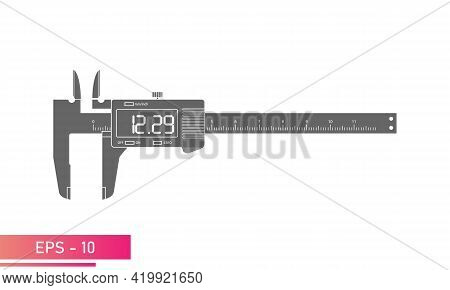 Digital Vernier Caliper With Display And Numeric Scale In A Single-color Version. Tools For Technica
