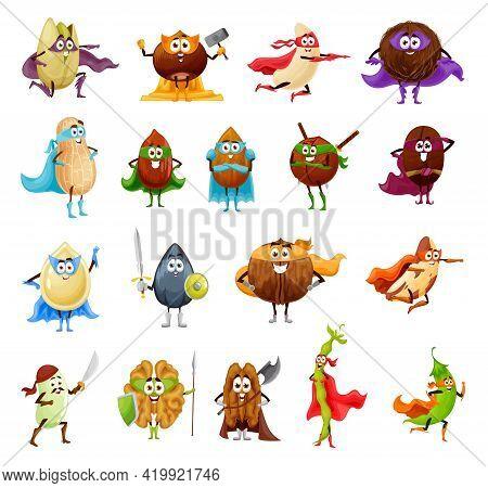 Nut, Seed And Bean Superhero Cartoon Characters. Vector Walnut, Almond, Peanut And Hazelnut, Pistach