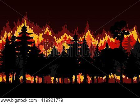 Forest Fire With Burning Trees And Smoke Vector Design Of Save Environment And Wild Natural Disaster