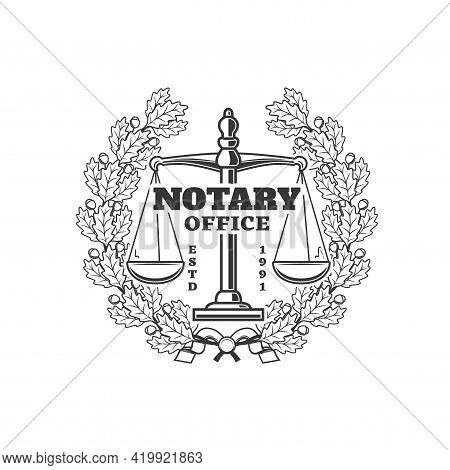 Notary Office Vector Icon, Notarial Service Emblem With Scales And Oak Wreath With Leaves And Acorns