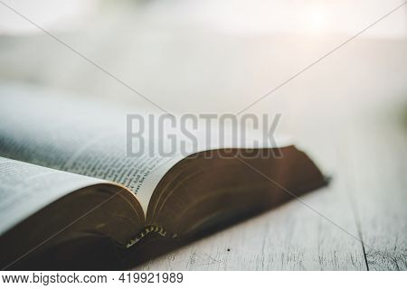 Close Up Of Open Bible