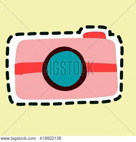 Pink Camera Icon Isolated On Yellow Background.