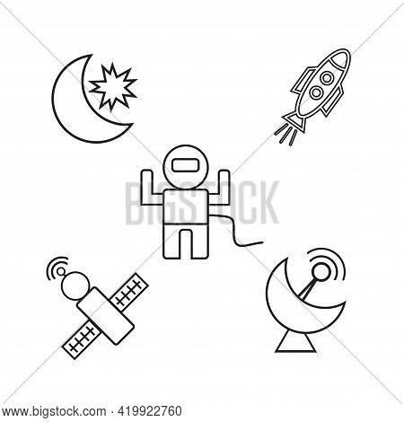 Rocket Spacecraft Bound For Moon. Future Travel Concept, Expedition To The Planets. Exploration Of T