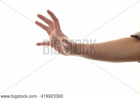 Hand Of A Person In Holding Gripping Or Grabbing Gesture Position, Isolated On White