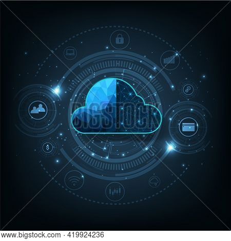 Technology Cloud Computing Concept.cloud Storage With Data Protected Exchange  Cloud Computing, Big