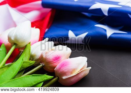 Happy Memorial Day Remember Previously But Now Seldom Called Decoration Day, American Flag And A Tul