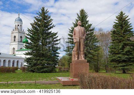 Poshekhonye, Russia - May 07, 2021: View Of The Monument To V.i. Lenin (ulyanov) On Freedom Square O