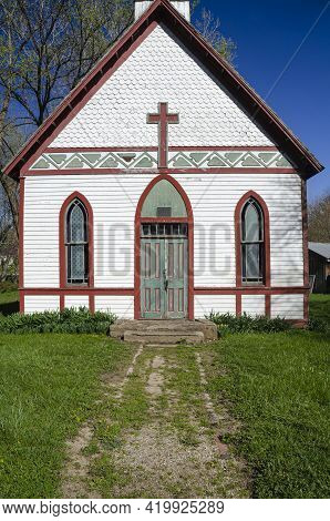 A Church In The Billie Creek Village Restoration In Rockville, Indiana Sits Waiting For A Fresh Coat