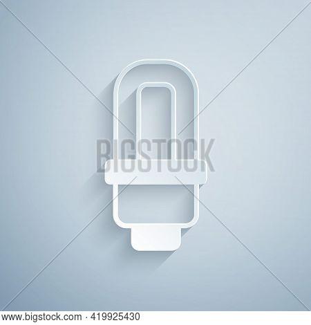 Paper Cut Led Light Bulb Icon Isolated On Grey Background. Economical Led Illuminated Lightbulb. Sav