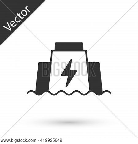 Grey Hydroelectric Dam Icon Isolated On White Background. Water Energy Plant. Hydropower. Hydroelect