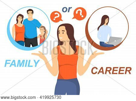 A Young Girl Chooses Between Family And Career. Choice Problem Concept. Vector Illustration. Vector.