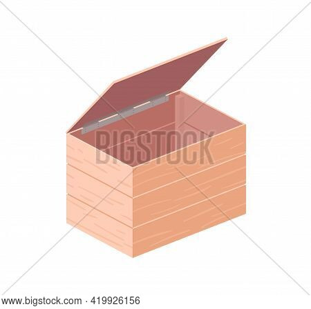 Empty Wooden Box With Open Cover. Wood Crate With Lid From Planks. Container For Harvest Storage And