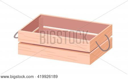 Empty Wooden Box With Twine Handles. Wood Crate From Plywood For Farms, Gardens And Markets. Open Re