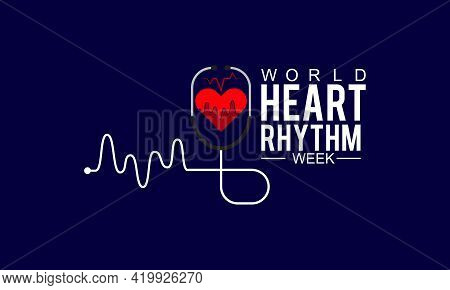 World Heart Rhythm Week Awareness Concept Observed On June Every Year. Template For Background, Bann