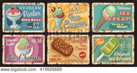 Ice-cream Parlour Rusty Metal Plate. Cafe Frozen Sweet Dessert Menu, Vector Gelato Ball With Strawbe