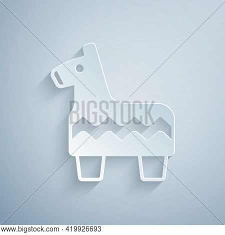 Paper Cut Pinata Icon Isolated On Grey Background. Mexican Traditional Birthday Toy. Paper Art Style