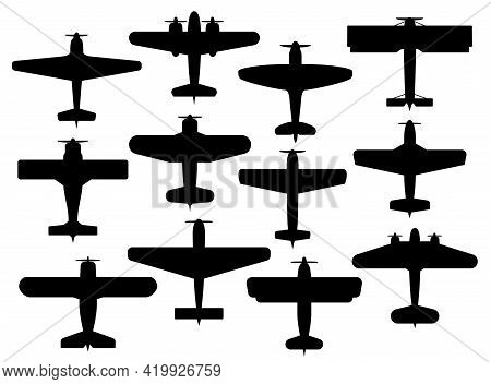 Retro Planes Black Silhouettes, Vector Airplanes With Propellers, Vintage Military Or Civil Aircraft