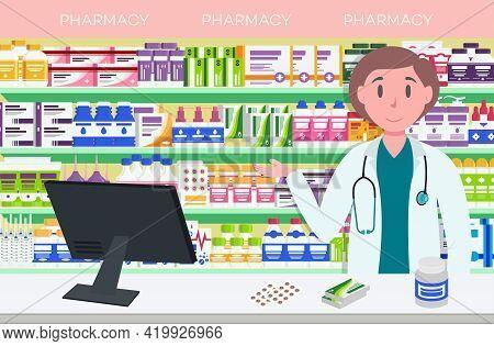 Modern Interior Pharmacy And Women Pharmacist. Pharmacy Shelves With Medicine Pills, Capsules, Bottl