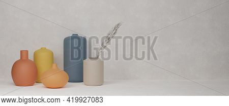 3D Rendering, Home Decor Colourful Ceramics Vases And Pot In White Background With Copy Space