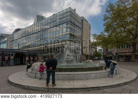 The Brockhaus Fountain In The Shopping Street Zeil, Frankfurt Am Main, Germany