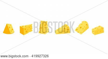 .cheese With Isolated On White Background, Vector Flat Illustration. A Set Of Different Cheeses