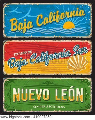 Baja California, Baja California Sur And Nuevo Leon Tin Signs, Mexico States Vector Plates. Mexico R