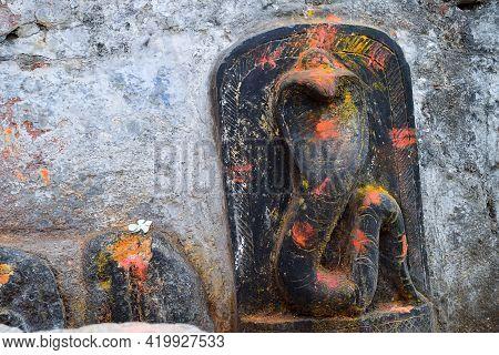 Stock Photo Of Old Snake Temple In Mailar Karnataka India. Stone Idol Carved In Blacks Tone, Turmeri