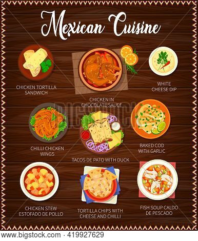 Mexican Restaurant Menu Design Template With Seafood And Meat Dishes. Chicken Tortilla Sandwich, Chi