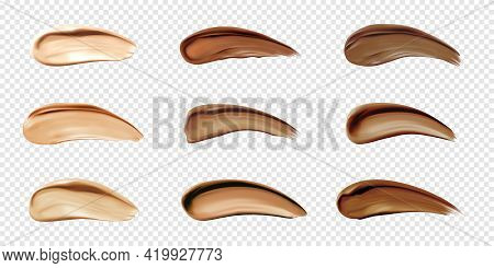 Cosmetic Foundation Swatches, Smears Of Liquid Concealer For Makeup Isolated On Transparent Backgrou