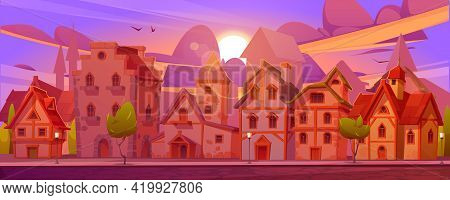 Medieval German Street With Half-timbered Houses At Sunset. Traditional European Buildings In Old To