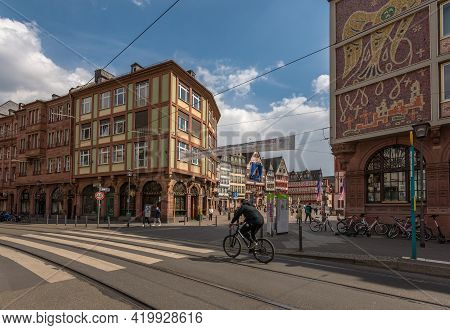 Frankfurt Am Main, Germany-may 03, 2021: View Of The Historic Center Römerberg In The City Of Frank