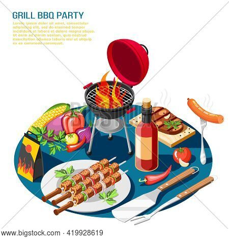 Grill Bbq Party Isometric Background Composition With Editable Text Description And Tabletop Set Wit